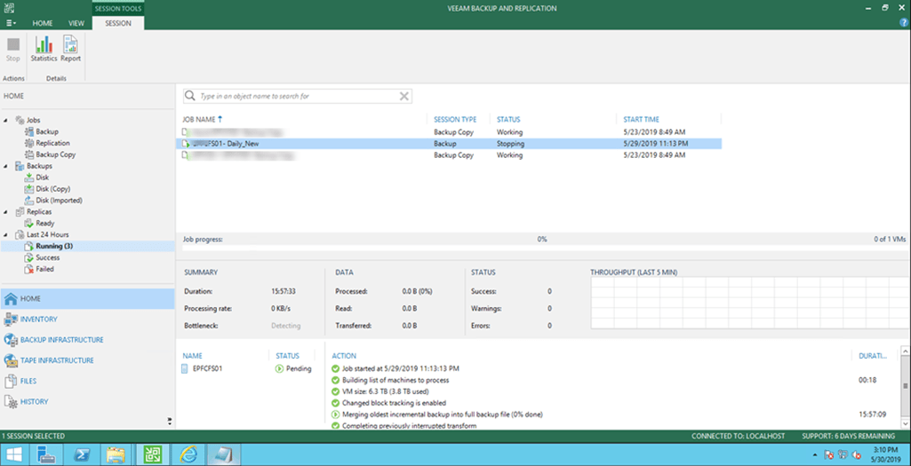 Force Stop Veeam Backup Job When it stuck at Stopping Status