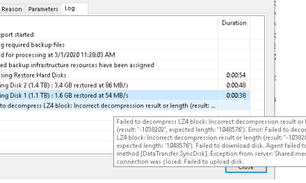 The Case of Failed to Decompress LZ4 Block: Incorrect decompression result or length error – #Veeam @Veeam
