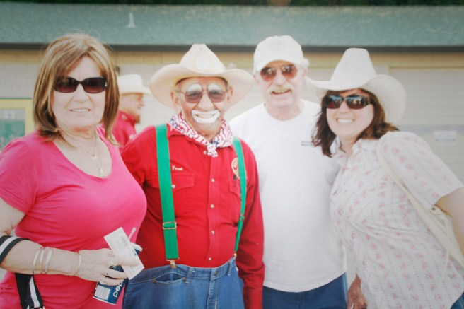 Redding Rodeo with two Clowns