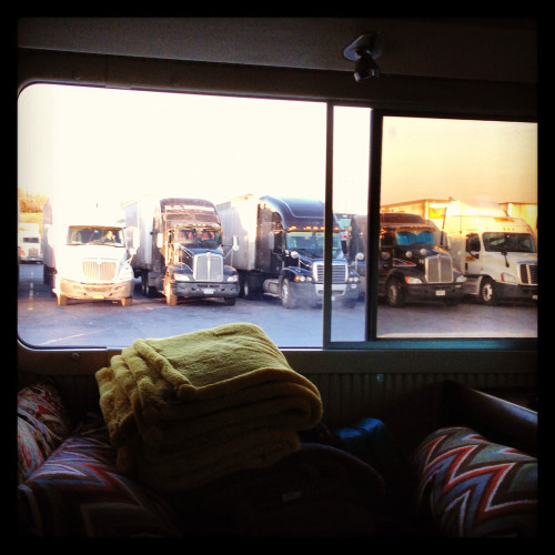 Sleeping at a truck stop near the northern entry of the Blue Ridge Parkway.