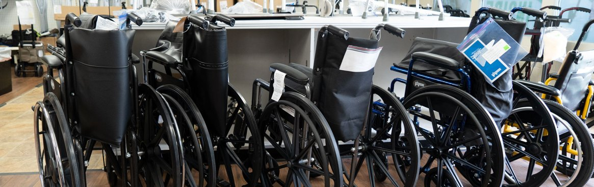 Wheelchairs on show floor