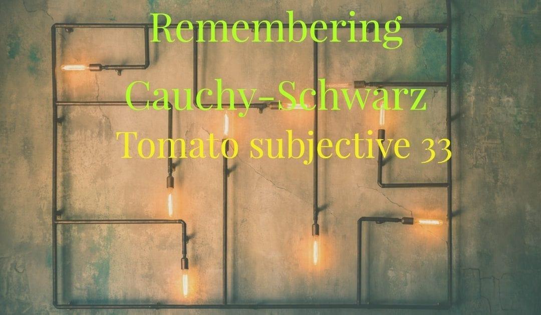 Remembering Cauchy-Schwarz(Tomato subjective 33)