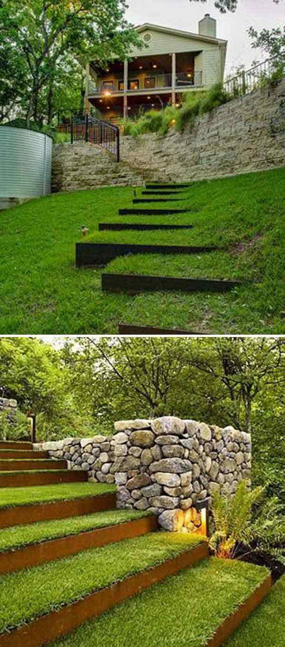 Awesome DIY Ideas to Make Garden Stairs and Steps on Backyard Patio Steps  id=87188