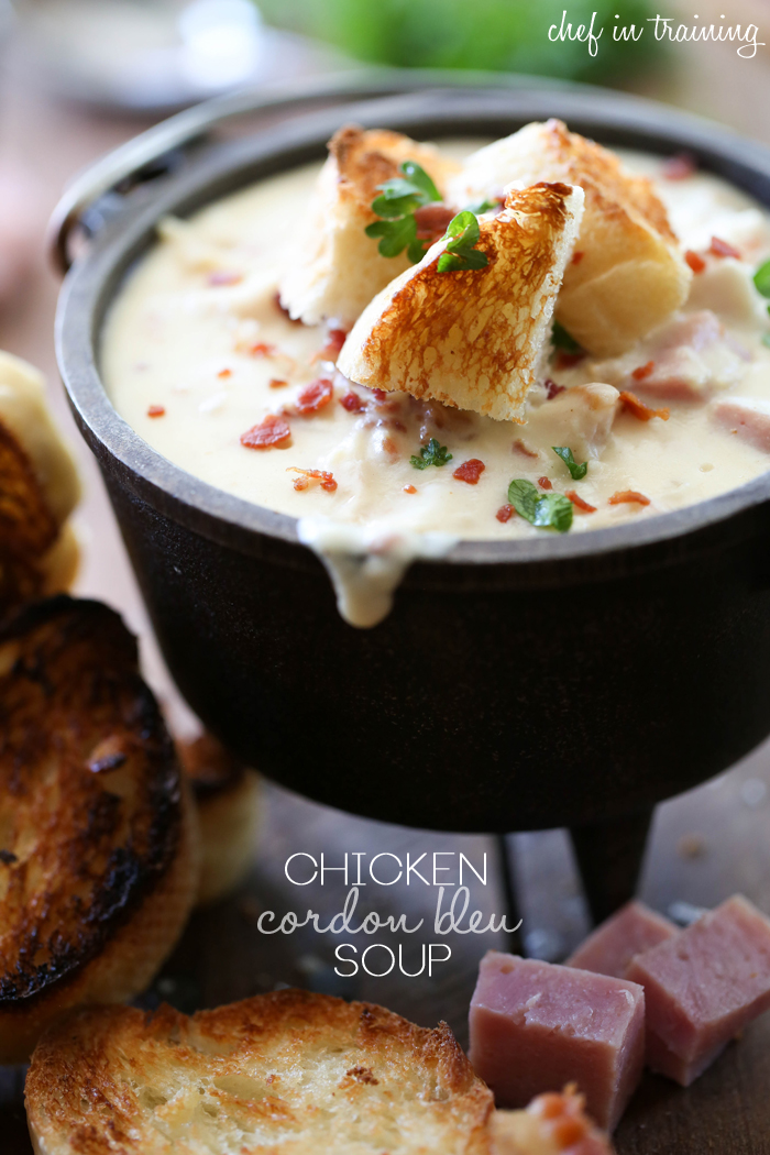 Chicken Cordon Bleu Soup from chef-in-training.com …Oh. My. Gosh. This is seriously the best soup ever!