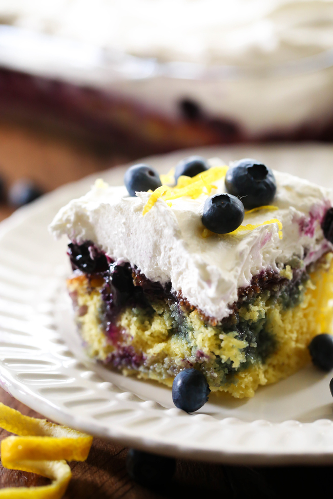 Lemon Blueberry Poke Cake Chef In Training