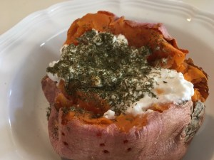 Sweet Potato with Cottage Cheese & Dill