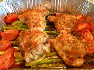Roasted Chicken, Asparagus & Tomato