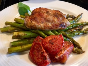 Roasted Chicken, Asparagus, & Tomato