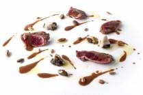 grouse, ostrica e olio di perilla