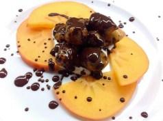 Antonella Chiriatti: Gnocchi dolci di patata zuccherina con crema di ricotta, purea di loti e cioccolato fondente al 90%