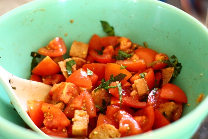 Juicy, ripe summer tomatoes, aged balsamic, toasted garlic croutons and your best olive oil combine to make panzanella the best end of summer salad.