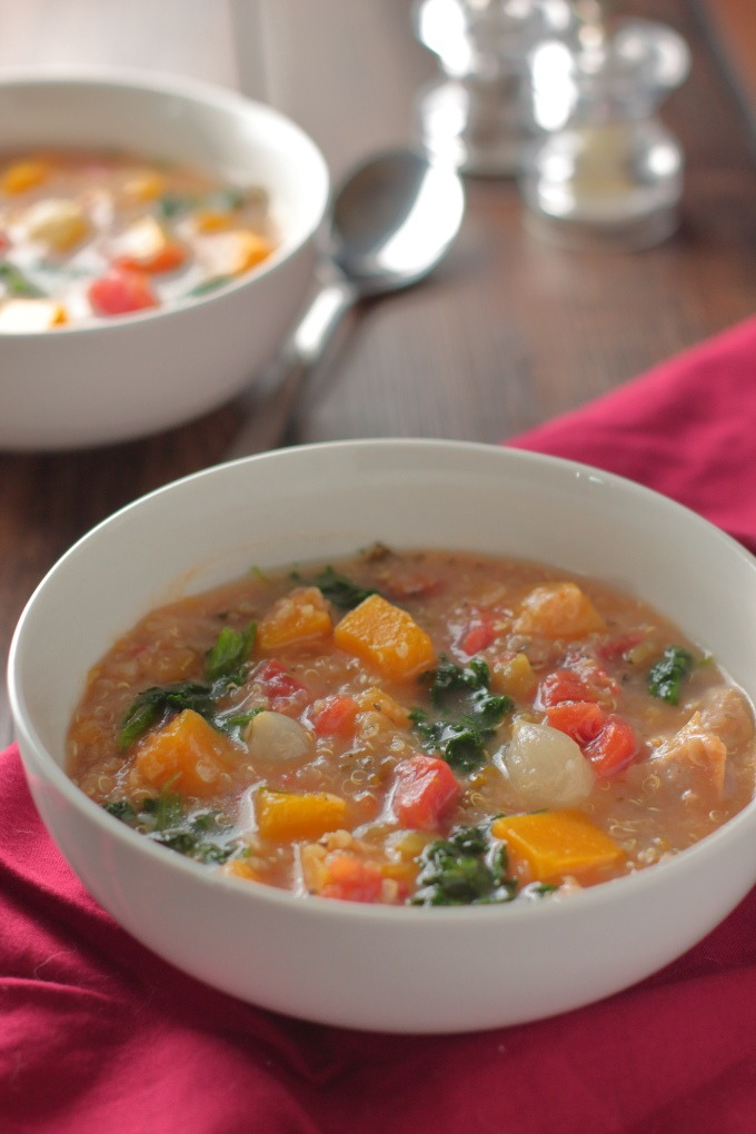 Tired of the same old soups and stews? Try this fabulous Chicken Stew with Butternut Squash Stew. Chock full of chicken and veggies, it's the ultimate one pot meal.