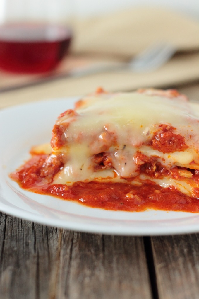 Lasagna with Meat Sauce is a hearty homemade dinner that is the perfect comfort food, easy to make and it freezes beautifully too. Trifecta!