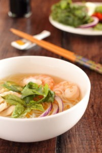 Chicken and Shrimp Phở ~ Vietnamese Chicken Noodle Soup - Phở, a Vietnamese noodle soup with about 100 different versions, is just as much, if not more about the broth as it is the stuff in the soup and the stuff you put on the soup. If you love a lot of stuff, this is the soup for you, especially as it can be prepared in less than 15 minutes!