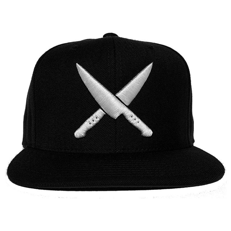 2 knives crew black  snapback chef life