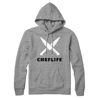 chef life hoodie heather grey