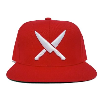 2 knives crew red snapback chef life