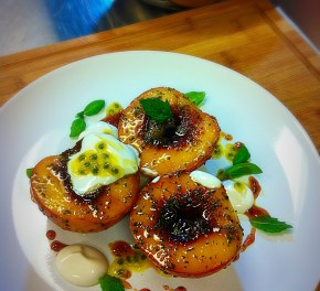 Pan Roasted Peaches, Basil, Mint, Honey and Passion Fruit