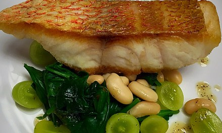 Pan Roasted Red Snapper with Spinach, Beans & Green Grapes