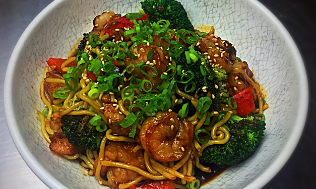 Mongolian shrimp, broccoli & noodles