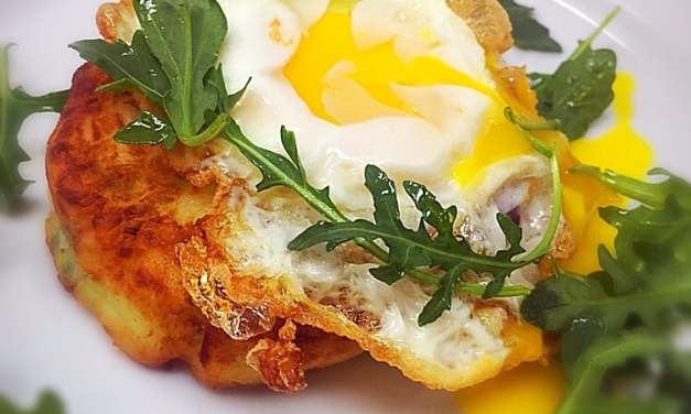 Potato cakes with leek and parsnip with a fried egg on top