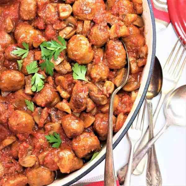 Sausage and mushroom ragu - only 6 ingredients & served with oven baked soft polenta