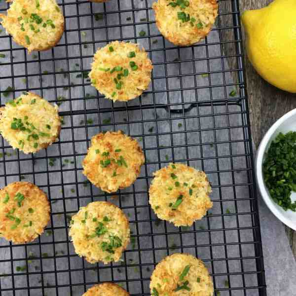 Baked One-Bite Crab Cakes - crispy crunchy outside, moist & cheesy crab yumminess on the inside, made in a mini muffin tin