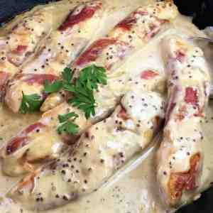 Chicken with whole grain mustard cream sauce - your new favorite cream sauce