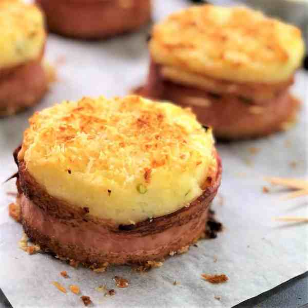 Baked mashed potato cakes with bacon #pimpyourmash