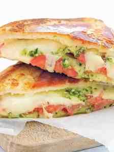 sandwich sitting on breadboard