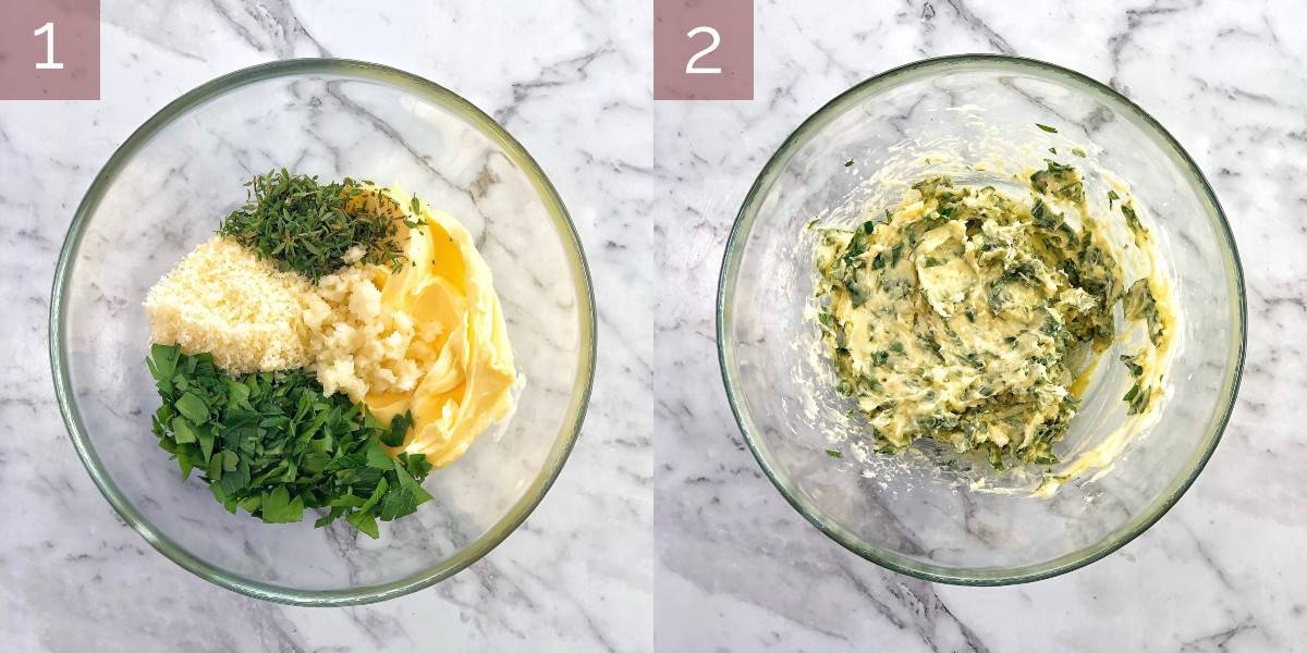 process images showing how to make garlic bread
