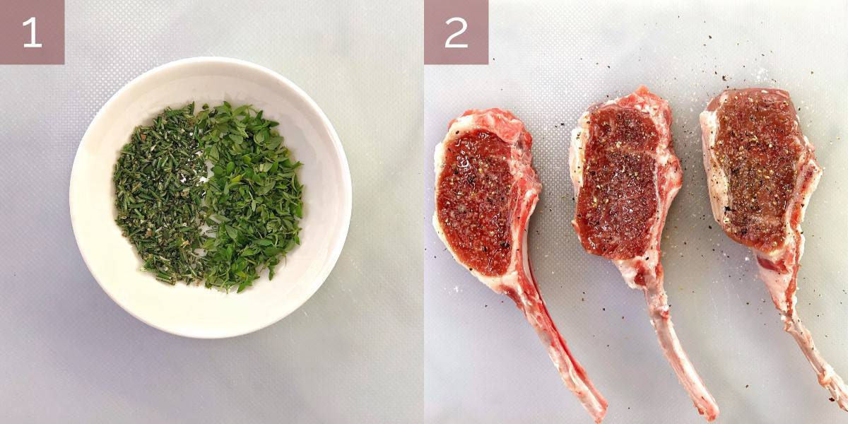 process images showing how to cook lamb lollipops