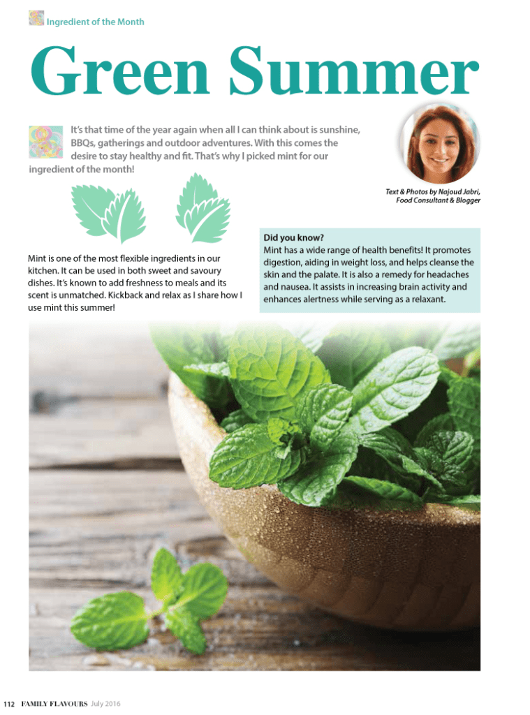 Mint Family Flavours Magazine July 2016 1