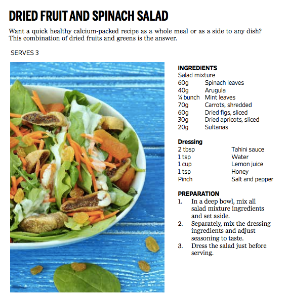 Calcium recipes spinach salad