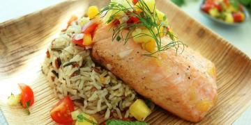 Pineapple Salmon With Rice & Tropical Salsa