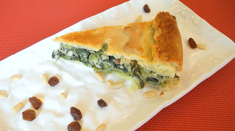 Torta di spinaci pinoli e uvetta