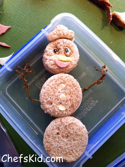 School lunch ideas: Bologna Snowman from ChefsKid.com