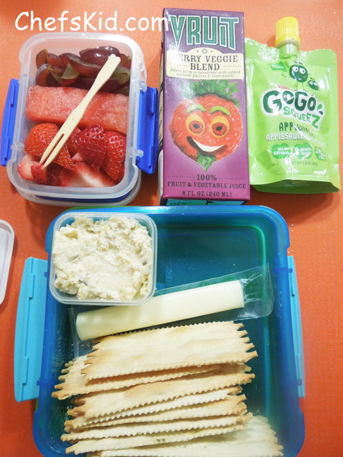 School Lunch Ideas: Chicken Salad with flatbread crackers from ChefsKid.com
