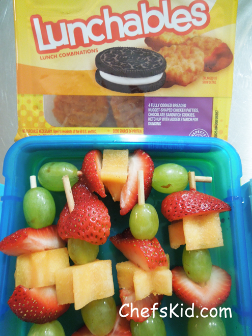 Fruit kabobs with lunchables from ChefsKid.com