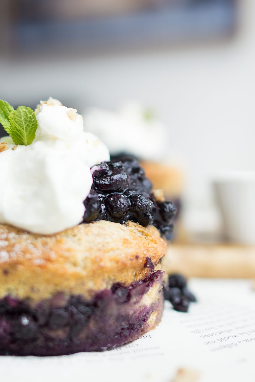 Close up of the side of the blueberry french toast cake