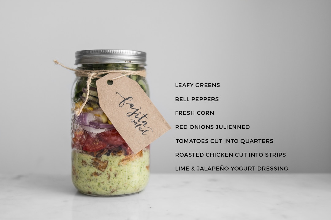 Fajita Salad in a Mason Jar with Ingredients Listed