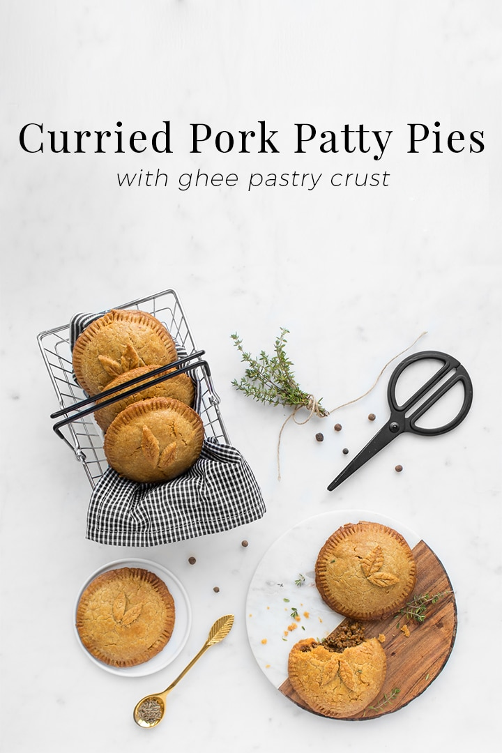 Combining rustic European meat pies with spicy Caribbean patties, these Curried Pork Patty Pies are made with ghee providing the flakiness of a shortening crust and the melt in your mouth sensation of butter. Inside every bite oozes a curry, all spice and firecracker of a scotch bonnet pepper pork filling.