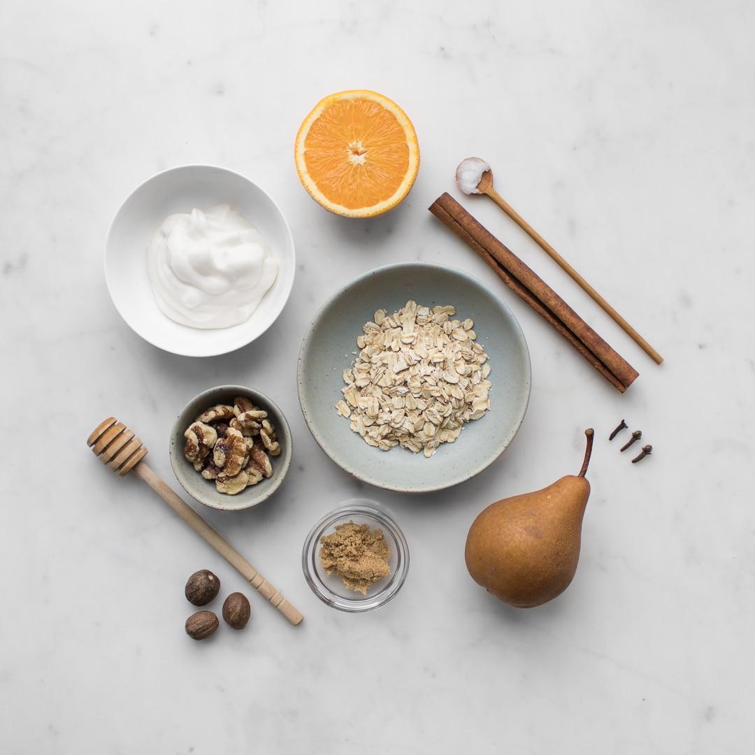 Oatmeal, pear, walnuts, yogurt, orange, honey, cinnamon sticks