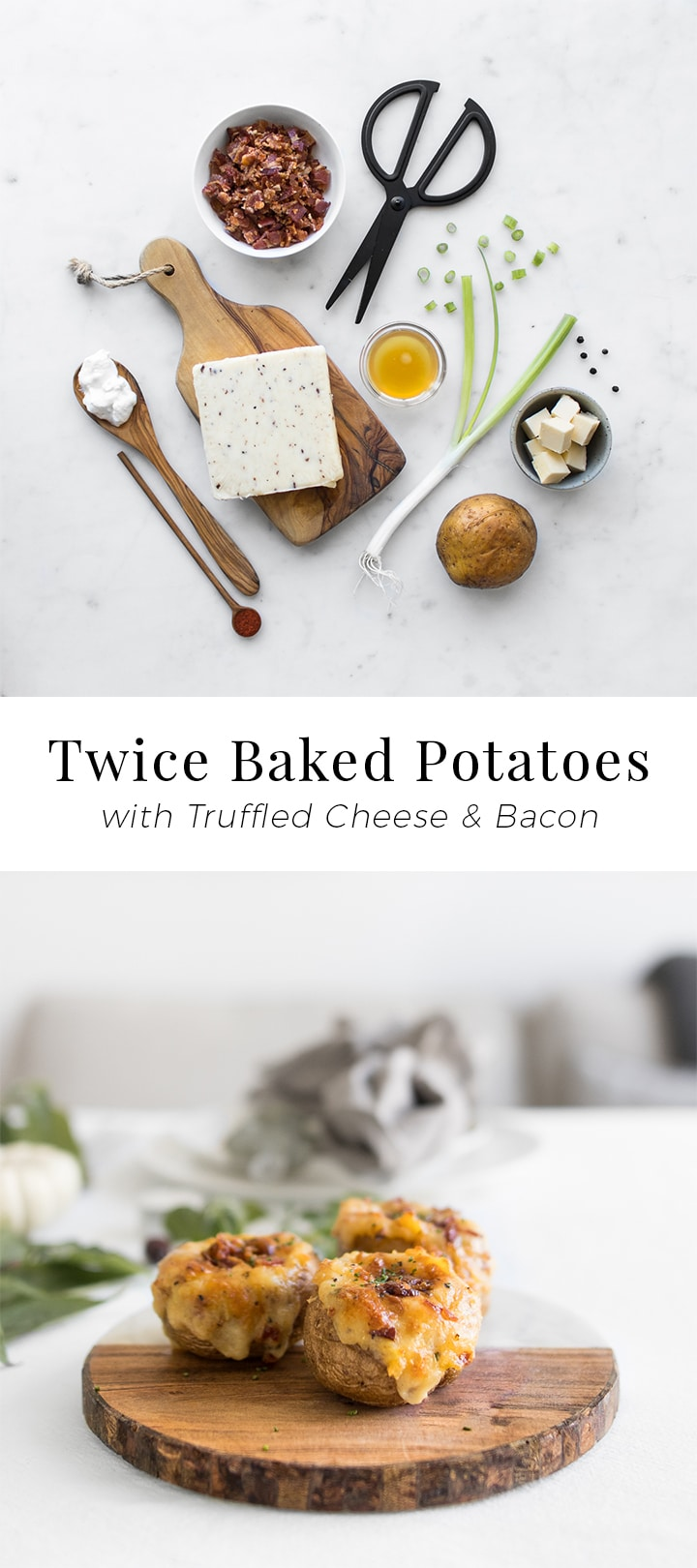 Twice Baked Potatoes are what Thanksgiving dreams are made of. They are the ultimate combination of all your favourite potato fixings mixed together in a simple to prepare, simple to serve, and simple to eat Thanksgiving accompaniment.
