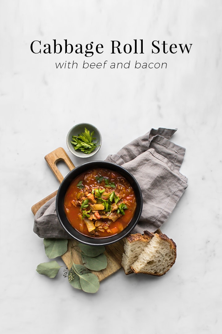 This Cabbage Roll Stew is the perfect accompaniment to any cold day. It's hearty and comforting with notes of sweet and sour that awaken your senses. The smoke and saltiness of the bacon are complemented by the sweetness of cabbage and tart of the cider vinegar. Brown rice ensures that this stew will keep you full for hours. #Soup #Stew #CabbageRolls #SoupRecipes #WinterRecipes