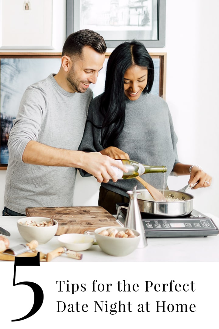 While date night at home is healthier and cheaper, spending it in at home with your partner can be an intimate and sensual evening.We're sharing 5 date night at home ideas andtips for getting back to just the two of you through cooking. #BeautifulFood #DateNight #Howto