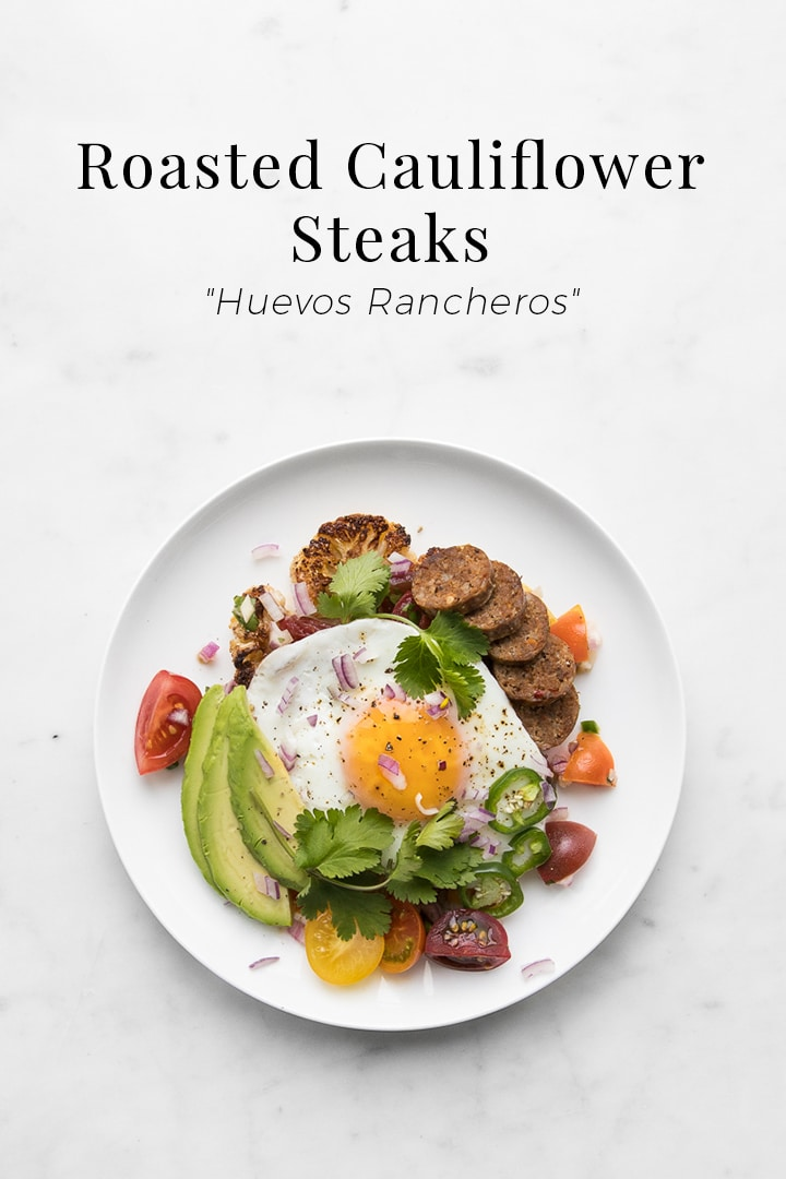 A delectable twist on the Mexican breakfast dish, our Roasted Cauliflower Steak Huevos Rancheros swaps out the traditional tortilla and subs in spicy chorizo, avocado and jalapeño in addition to the classic over easy egg yolks. #BeautifulFood #Breakfast #Brunch #Eggs #Cauliflower #Whole30