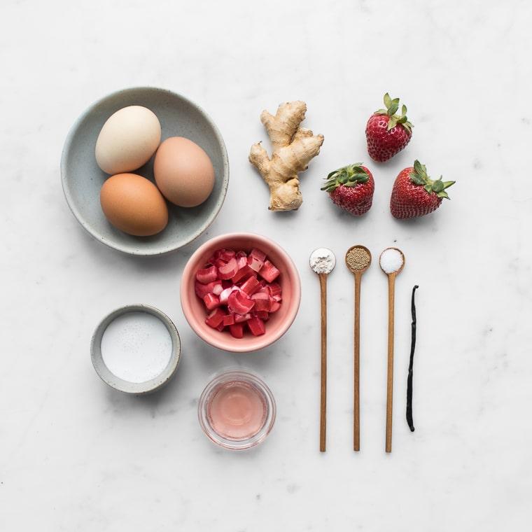 eggs, rhubarb, coconut milk, rose wine, ginger, yeast, flour, salt