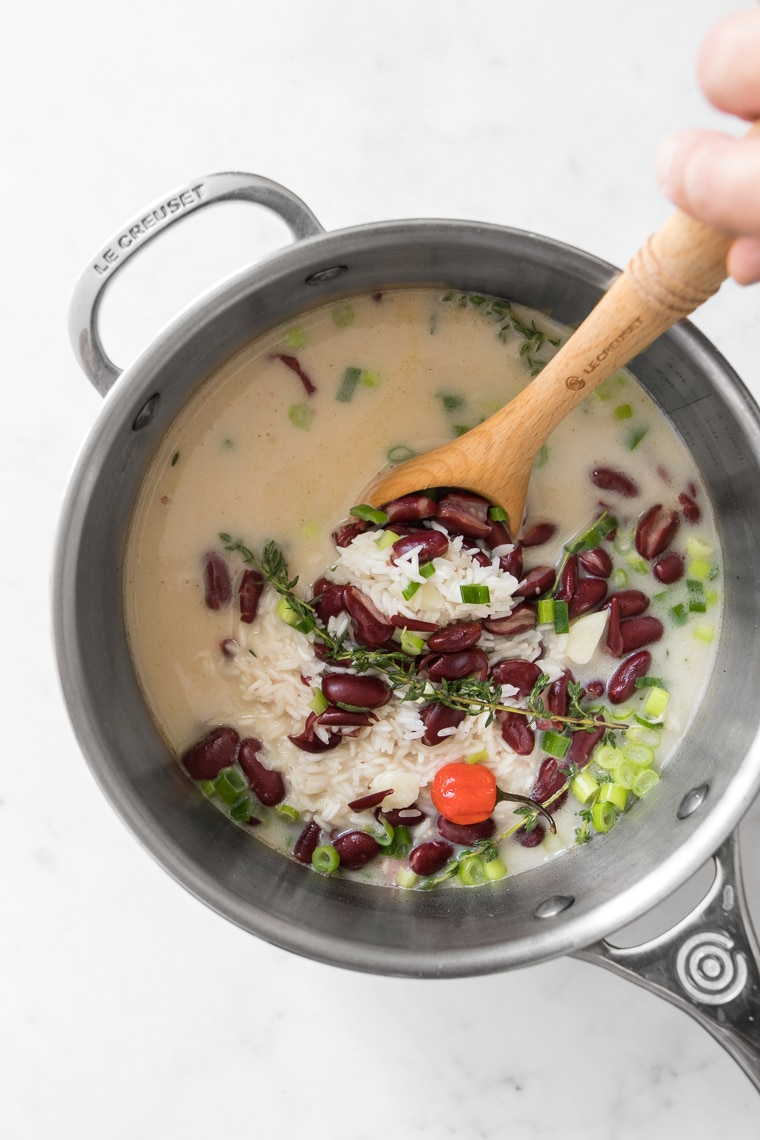 Saucepan with ingredients for Rice and Peas