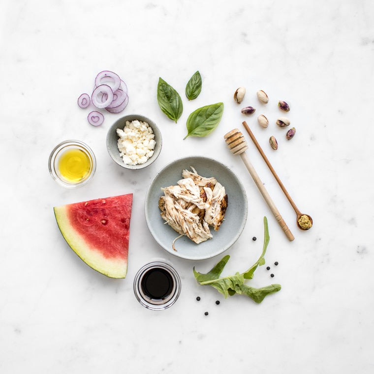 Deconstructed Chicken, Watermelon and Feta Salad Ingredients